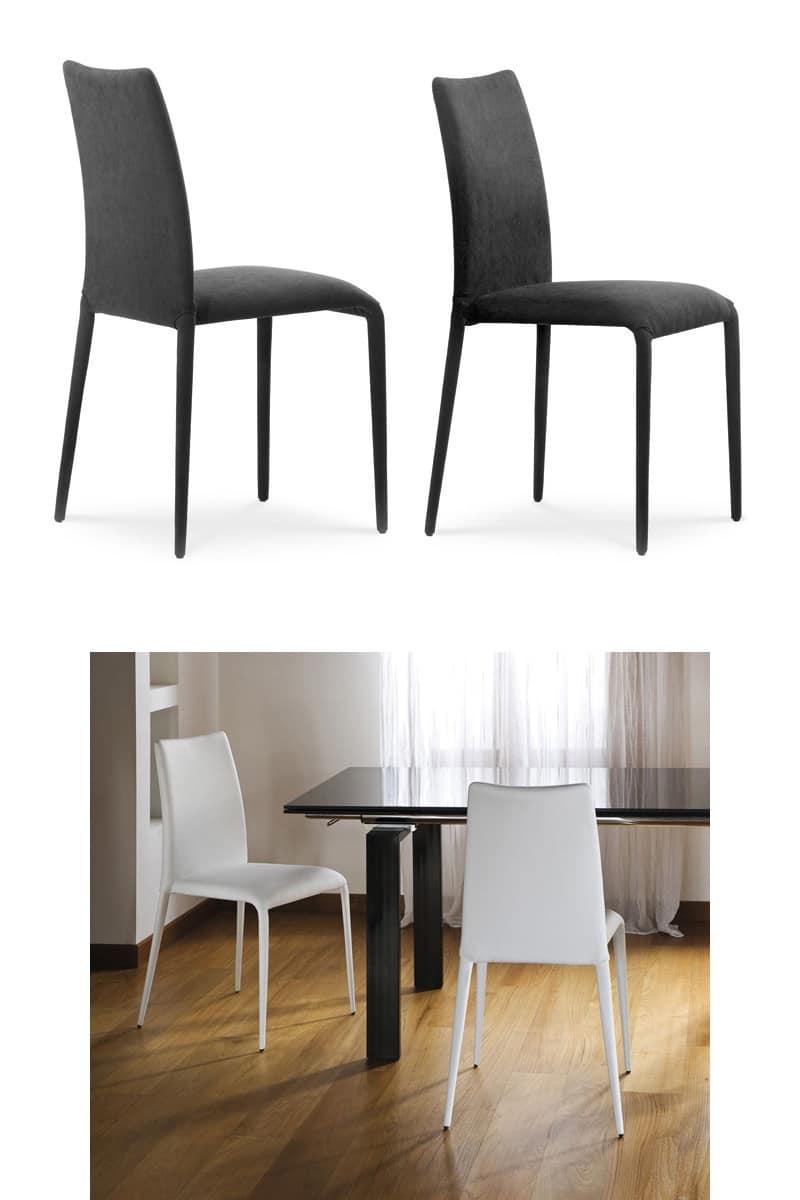 Sedia moderna in metallo rivestito in pelle per il for Sedia design comoda