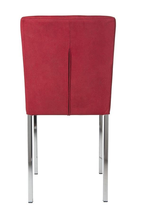 Vidor, Sedia sfoderabile con gambe in metallo per bar