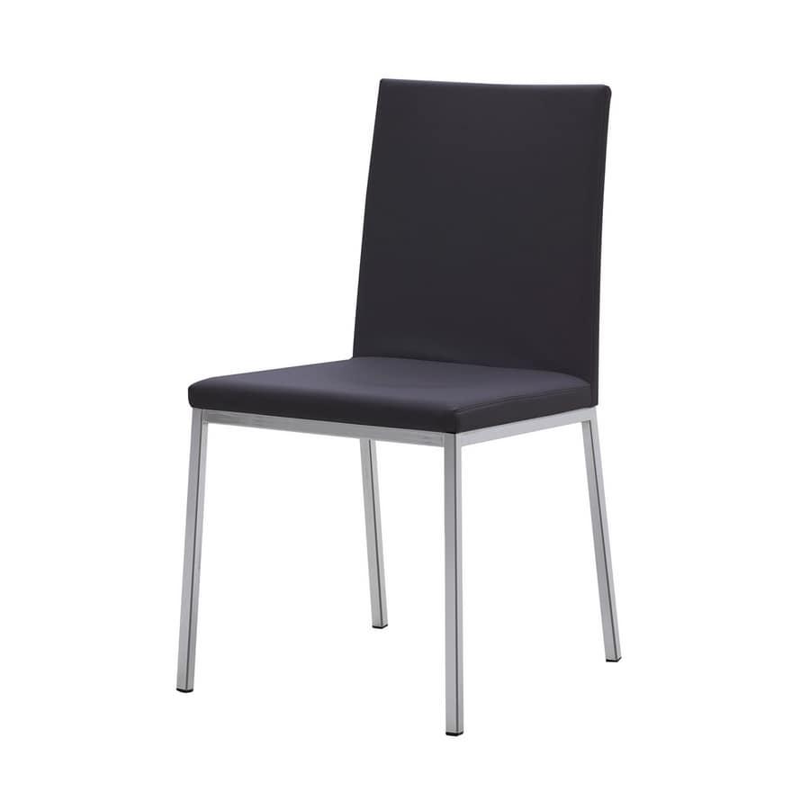 Sedia moderna in acciaio seduta e schienale rivestiti in for Sedie in acciaio