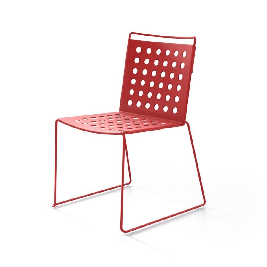 Multi Buco, Sedia da esterno, leggera, in alluminio ed acciaio