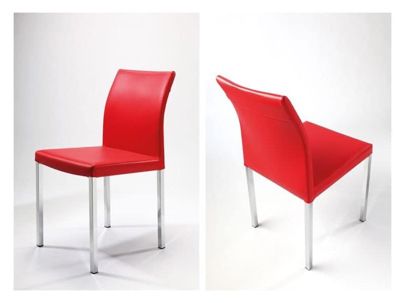 Sedia lineare in cuoio in vari colori per sala attesa idfdesign