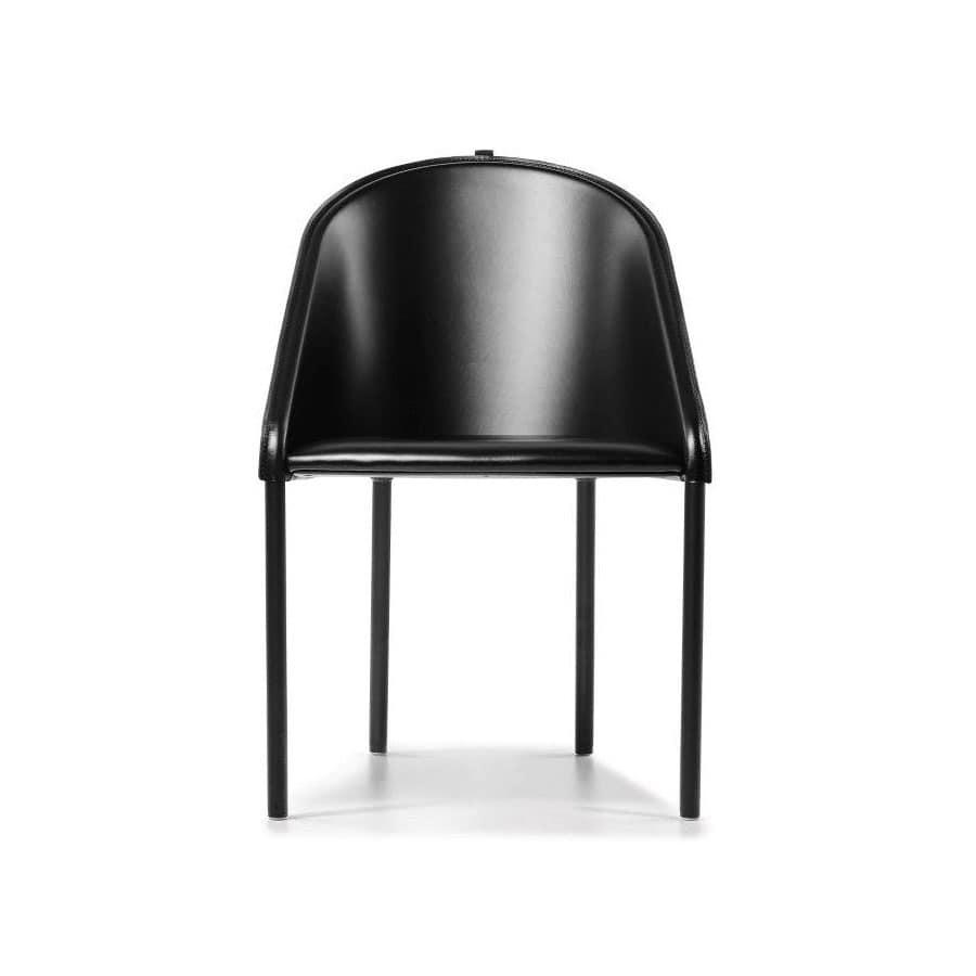 Palio sedia 1220-00, Sedia rivestita in cuoio naturale, per Salotto