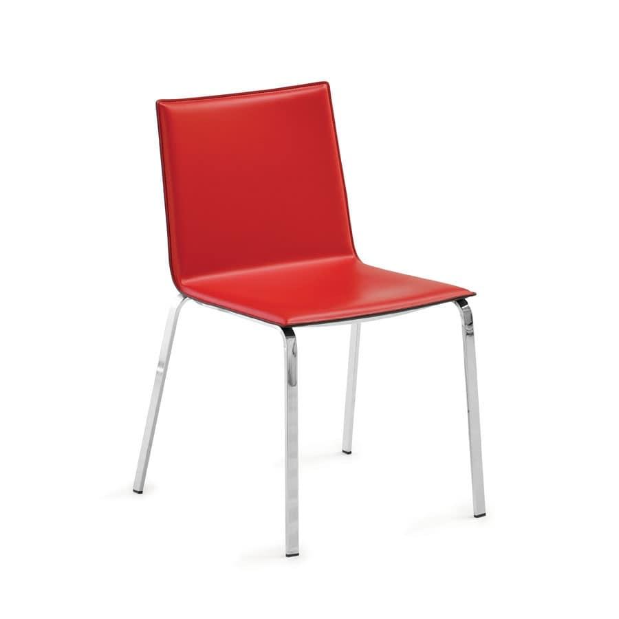 Sedia moderna in metallo e eco pelle per ristoranti for Sedie design metallo