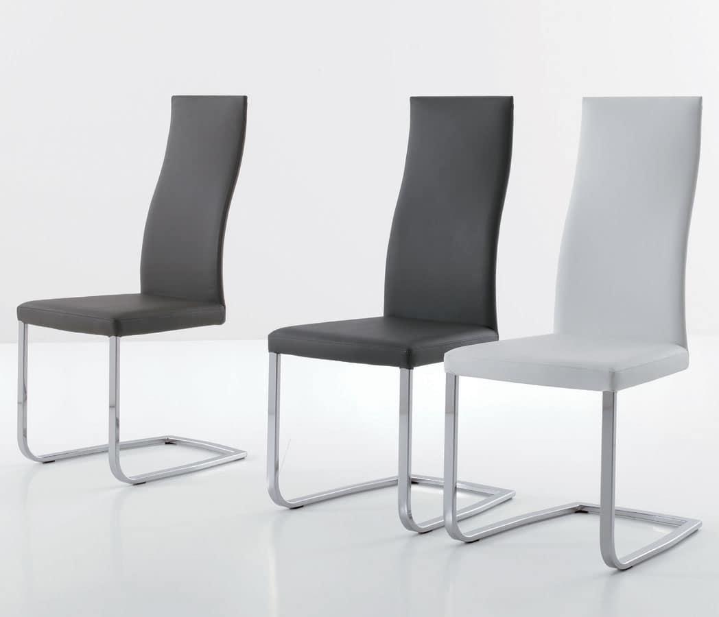 Sedia moderna con base a slitta rivestimento in ecopelle for Pelle per rivestimento sedie