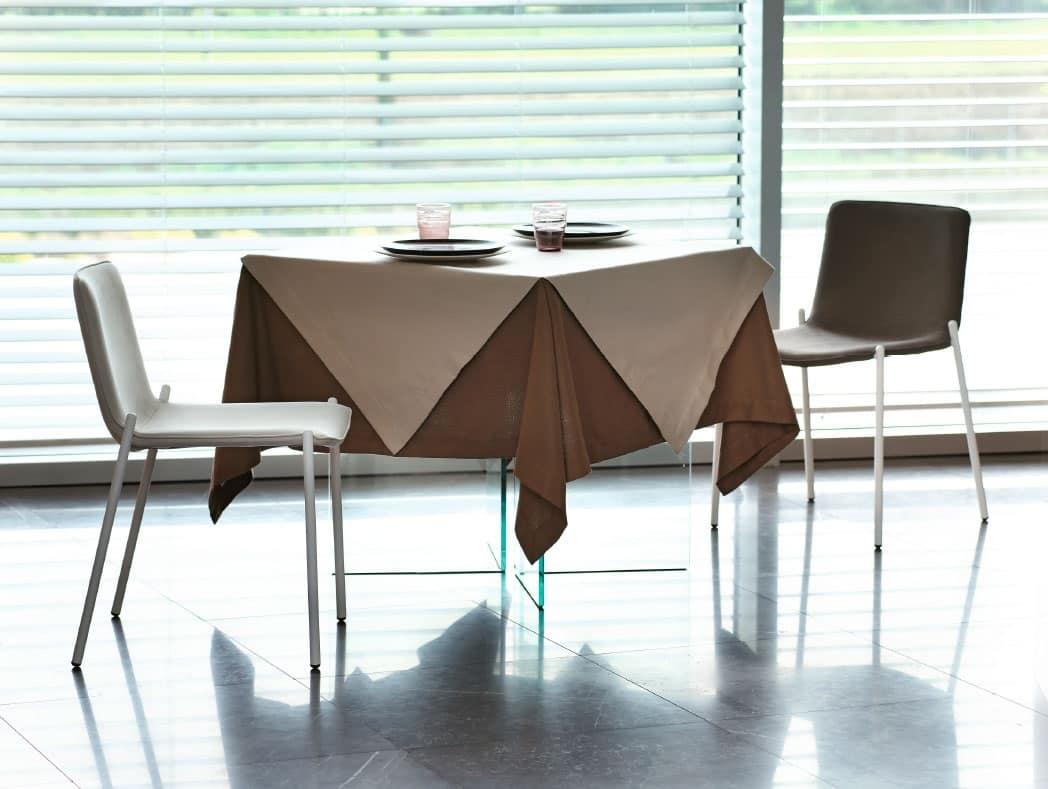 Sedia moderna in metallo cromato per salotto idfdesign for Sedie arredo