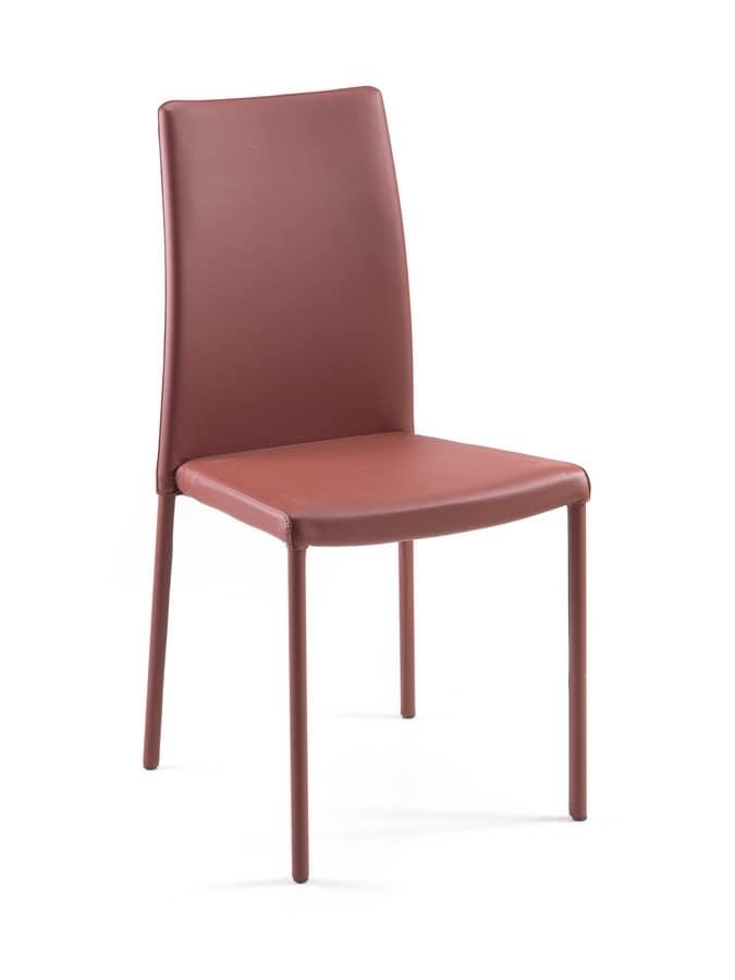 sedia customizzabile in metallo e pelle per ristoranti On sedie design treviso