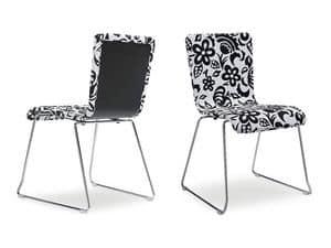 VANITY/I, Sedia impilabile, seduta e schienale con decorazioni floreali