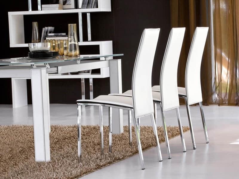 Sedie Schienale Alto Design : Sedia rivestita in cuoio con schienale alto idfdesign