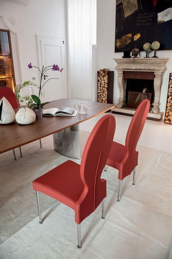 VIVIENNE, Sedia in metallo, schienale circolare, per soggiorno