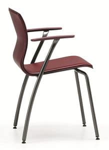 WEBTOP 388, Sedia in metallo e cuoio, adatta a bar e uffici