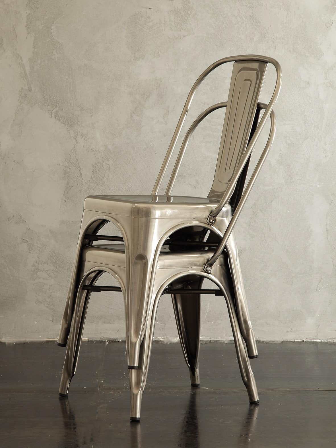 Art. 069 Route 66 sedia, Sedia impilabile in metallo, in stile vintage