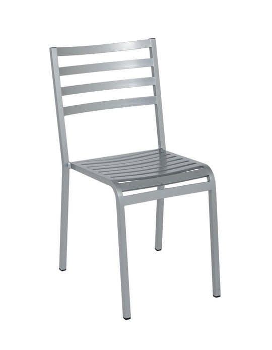 Art.Macrì Outdoor sedia, Sedia in metallo per esterno, doghe orrizzontali