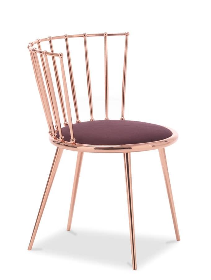 Sedia in metallo con seduta imbottita idfdesign for Sedia design amazon