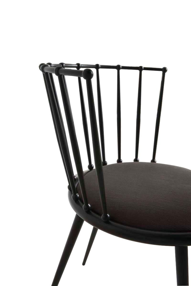 Aurora sedia bacchettata, Sedia in metallo, con seduta imbottita