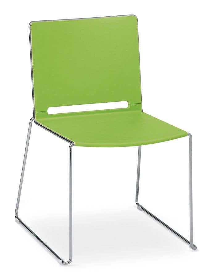 Fabbrica Sedie Plastica Impilabili.Sedia Impilabile In Metallo Cromato E Polipropilene Colorato