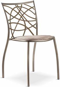 Julie sedia con seduta imbottita, Sedia impilabile in metallo