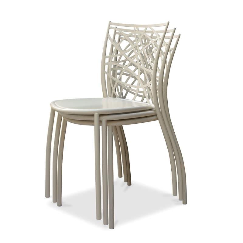 Julie sedia, Sedia impilabile in ferro, schienale tagliato con laser