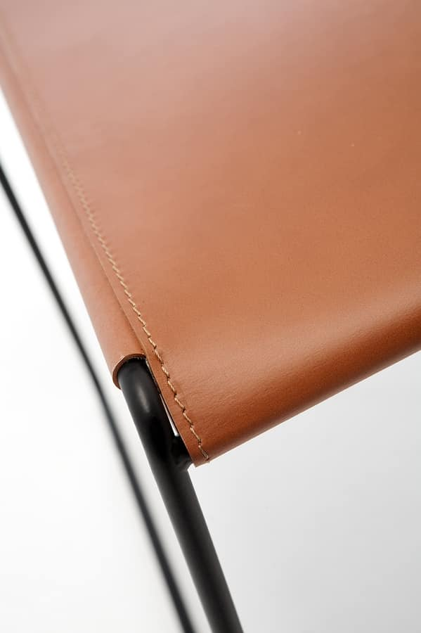 Log leather, Sedie in metallo, schienale e seduta in pelle rigenerata, per bar e ristorante