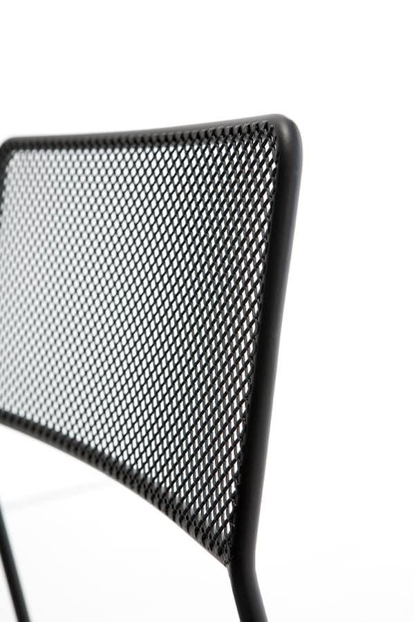Log mesh, Sedia in metallo, impilabile e comodamente trasportabile, adatta anche per l'esterno