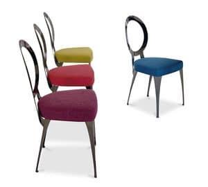 Miss sedia schienale nudo, Sedia con struttura in ferro, seduta imbottita in gomma