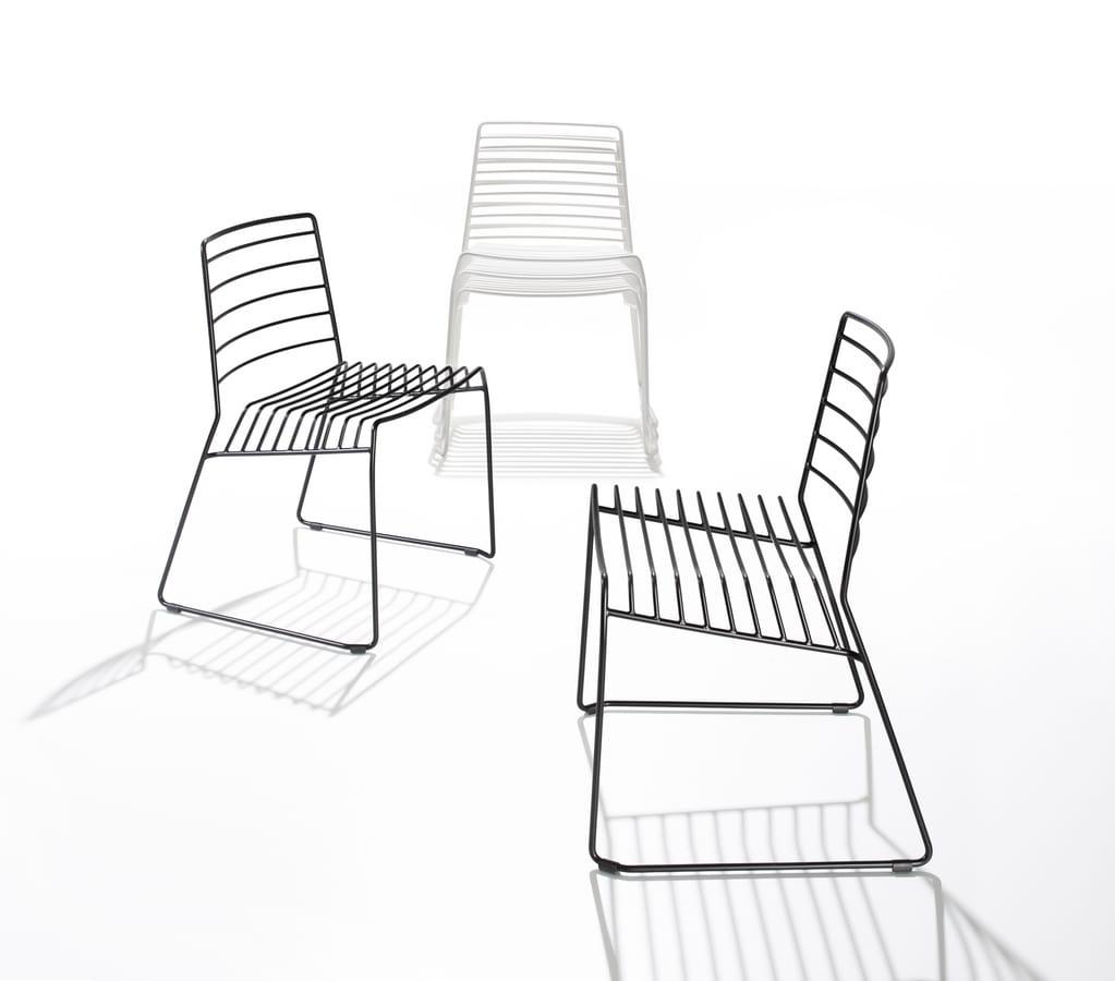 Park, Sedia in tondino d'acciaio, impilabile, anche per esterni