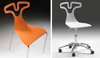 T-shirt sedia, Sedia impilabile in plastica, struttura in acciaio cromato
