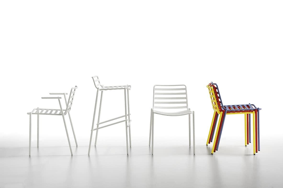 Trampoliere S EX, Sedia in acciaio verniciato, impilabile, per esterni