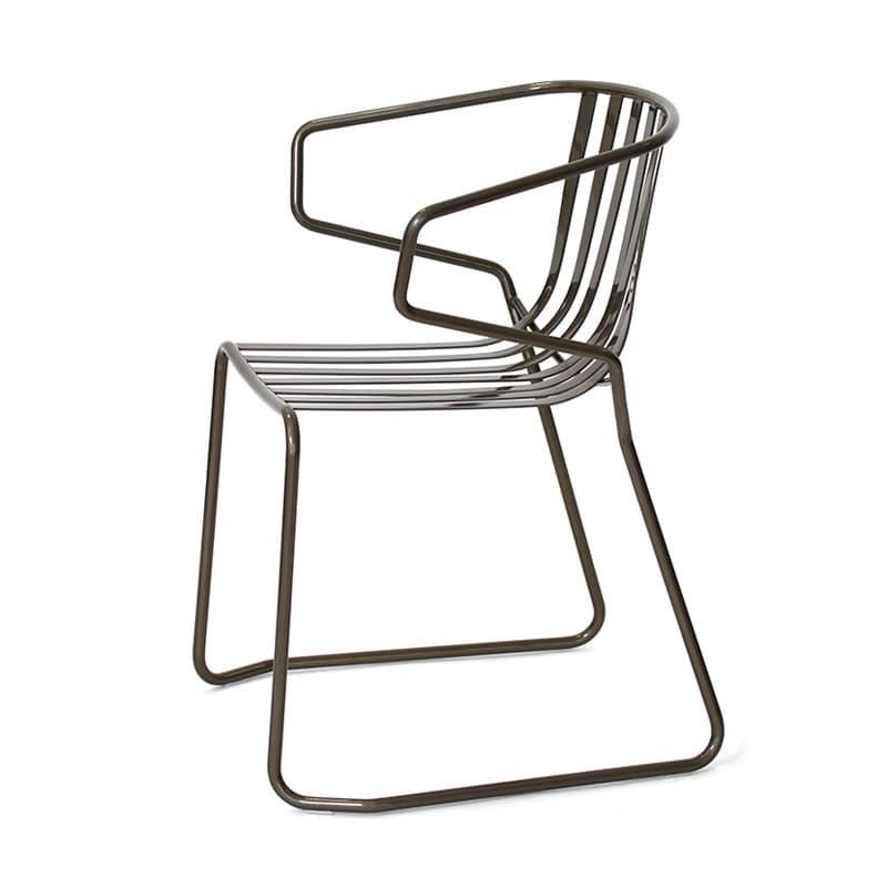 Sedia interamente in metallo per esterno per giardino for Sedie design metallo