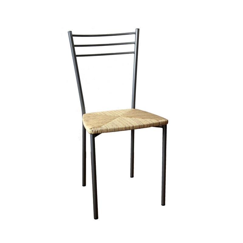 Sedia con struttura in metallo e seduta in paglia for Sedie acciaio e legno