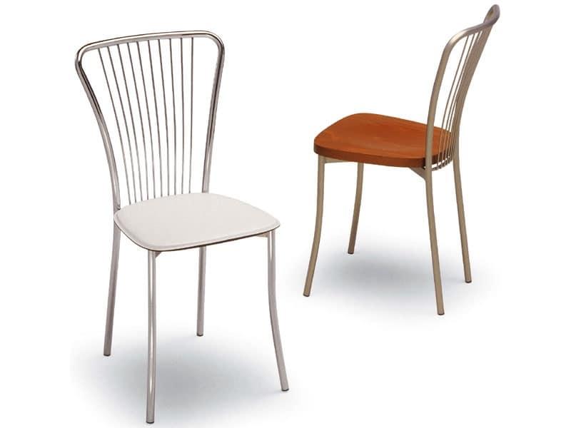 Sedia in metallo schienale con motivo verticale gelateria