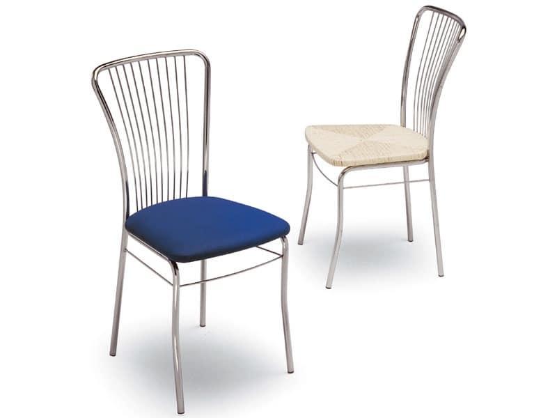 73, Sedia in metallo verniciato, seduta tapezzata, per casa