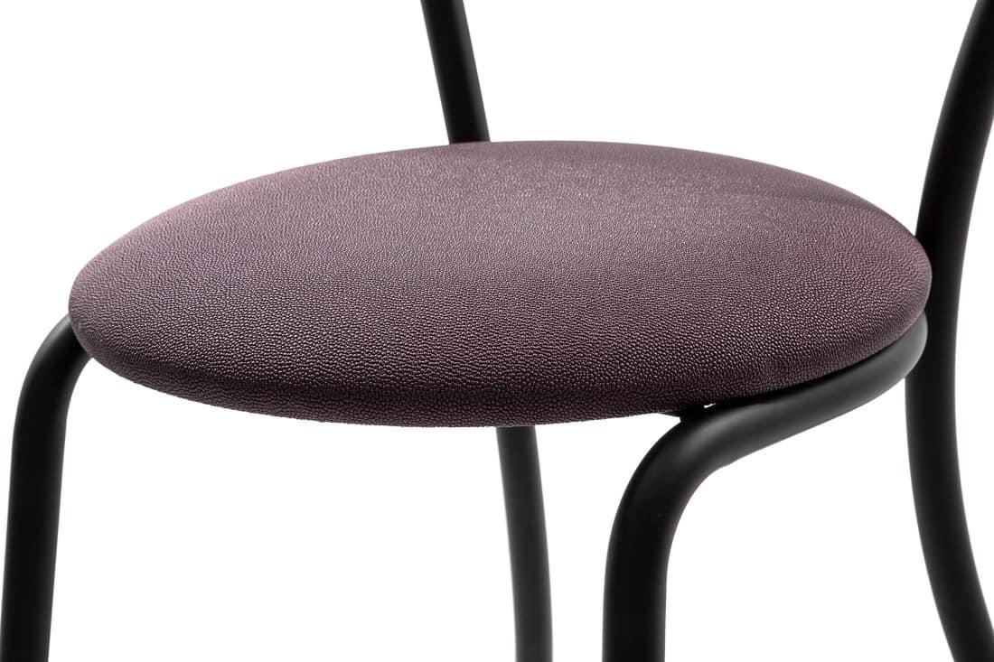 Art.Kris, Sedia in metallo curvato, seduta tonda imbottita