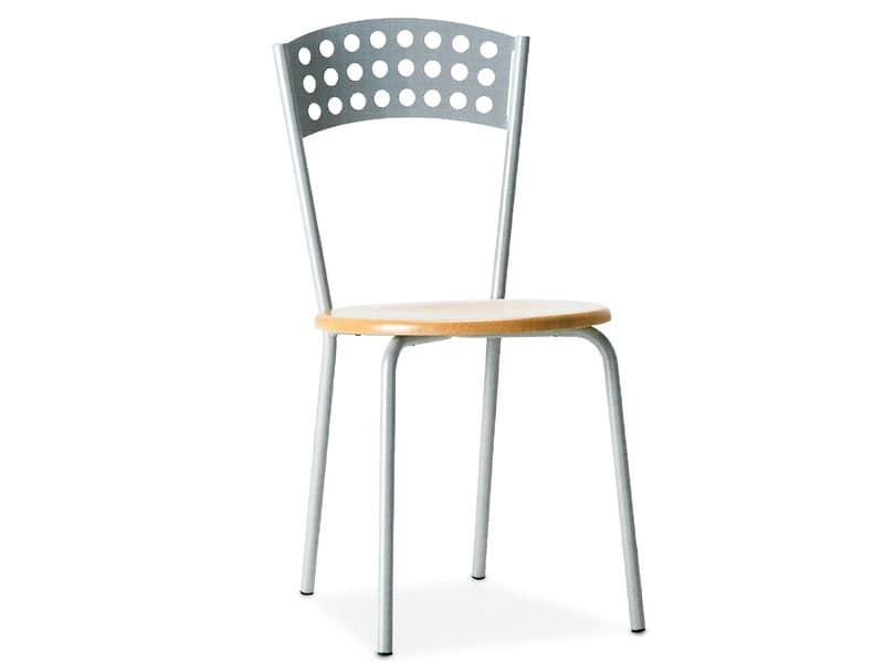 CINDY, Sedia in metallo con sedile in legno