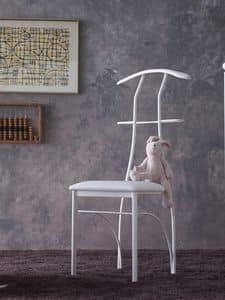 Galileo, Appendiabiti sedia, in ferro verniciato, seduta in ecopelle