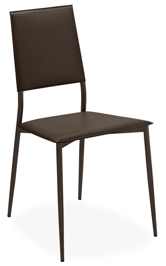 Sedia Moderna In Metallo E Cuoio Con Gambe Sottili