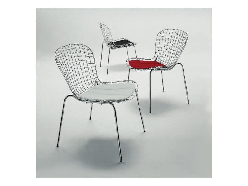 Sedute sedie moderne metallo schienale metallo idf for Sedie design metallo