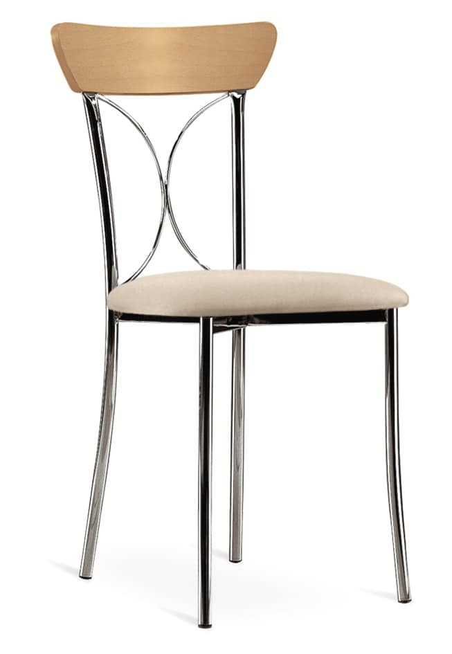 sedia con struttura in metallo e legno seduta imbottita