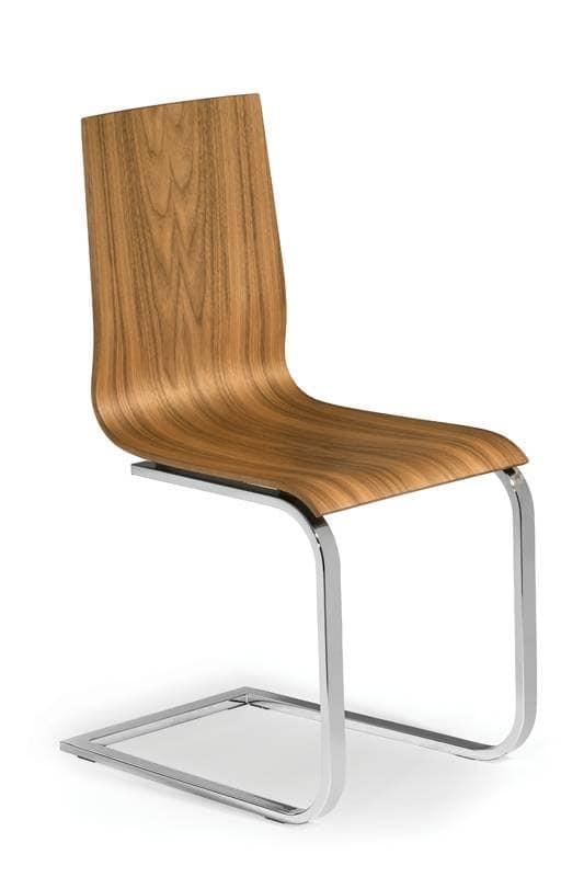 1604, Sedia a slitta per bar, sedia legno metallo per la casa