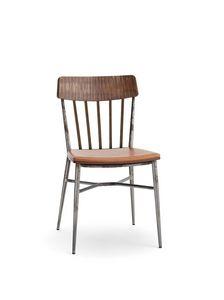 1629, Sedia vintage in legno e acciaio, con gambe a cono