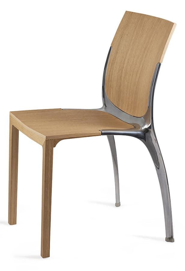 Sedia impilabile in legno e metallo idfdesign for Sedie di design
