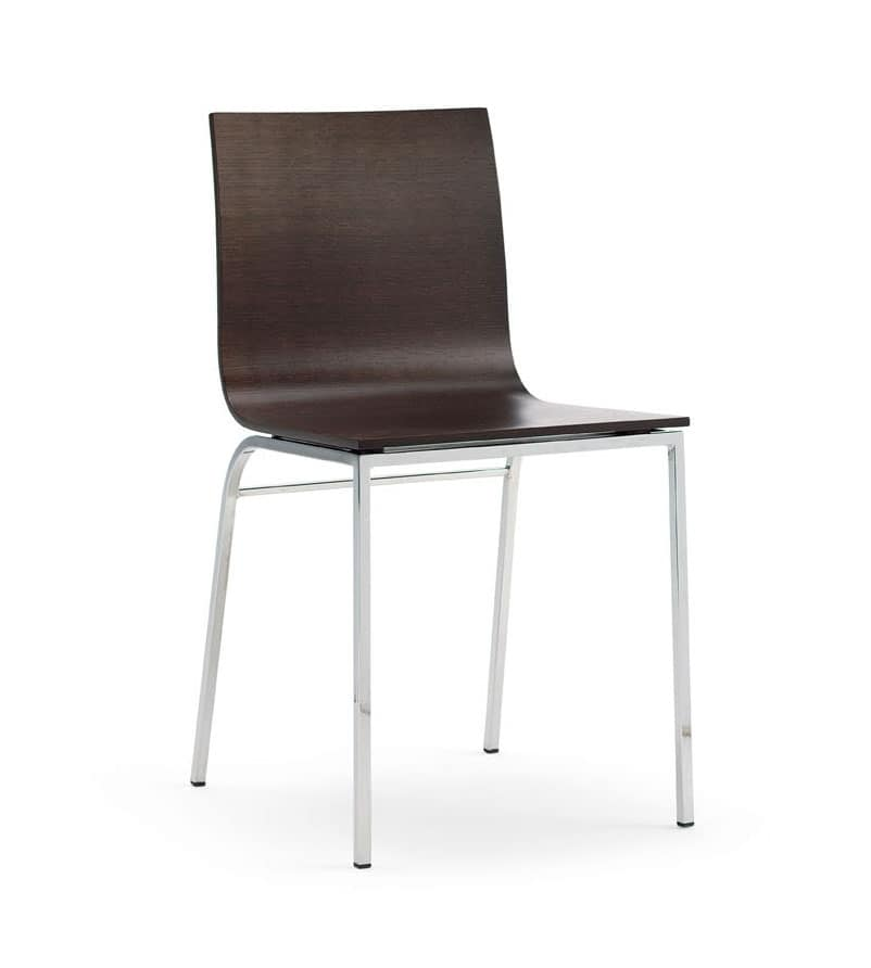LIRA, Sedia in legno e metallo cromato, per bar