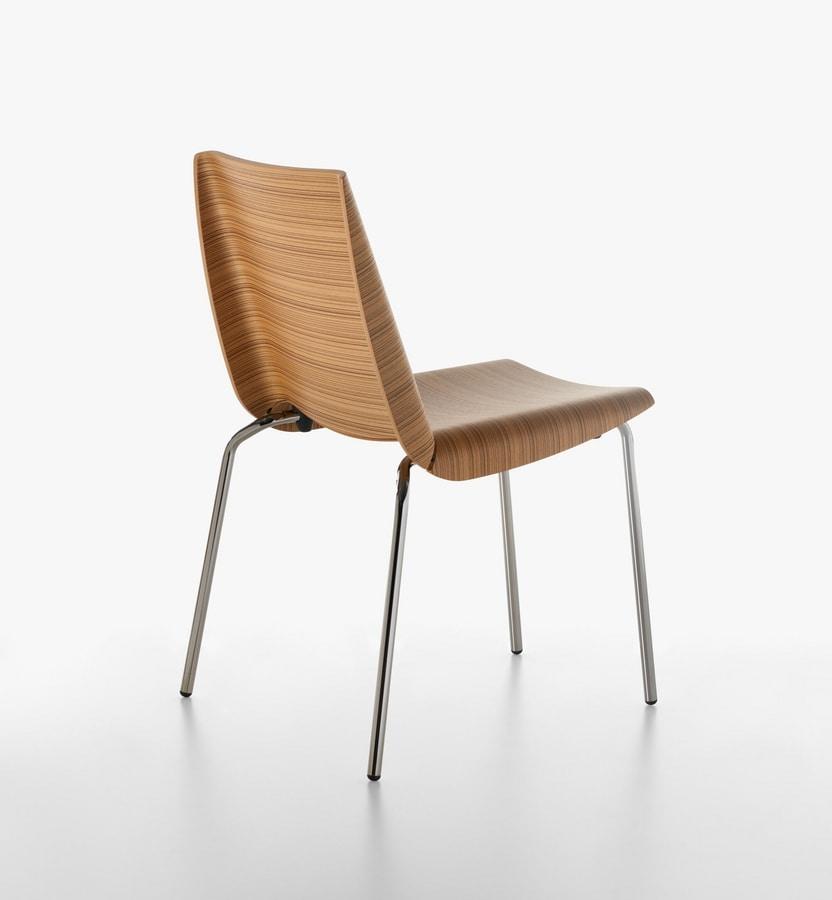 Millefoglie sedia 1620-20, Sedia in metallo con scocca in legno multistrato, per Cucina