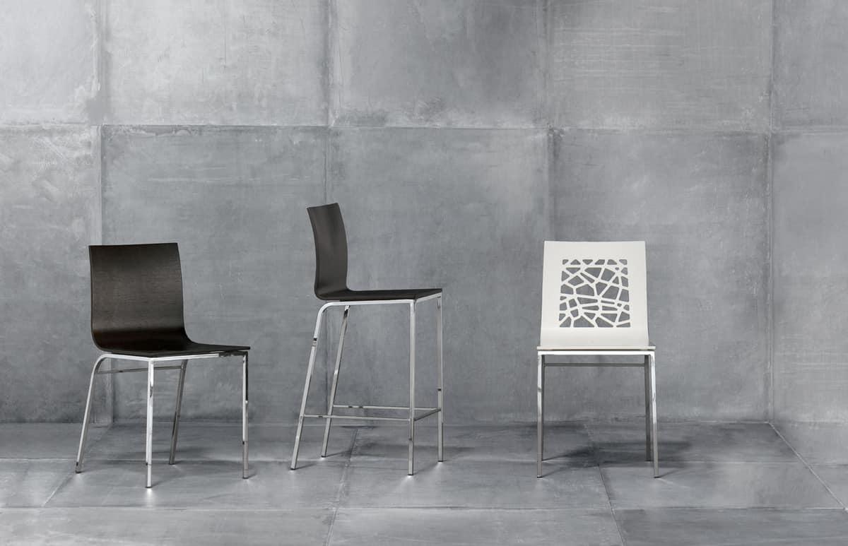 SANTAFE', Sedia in legno verniciato e metallo, per ristoranti