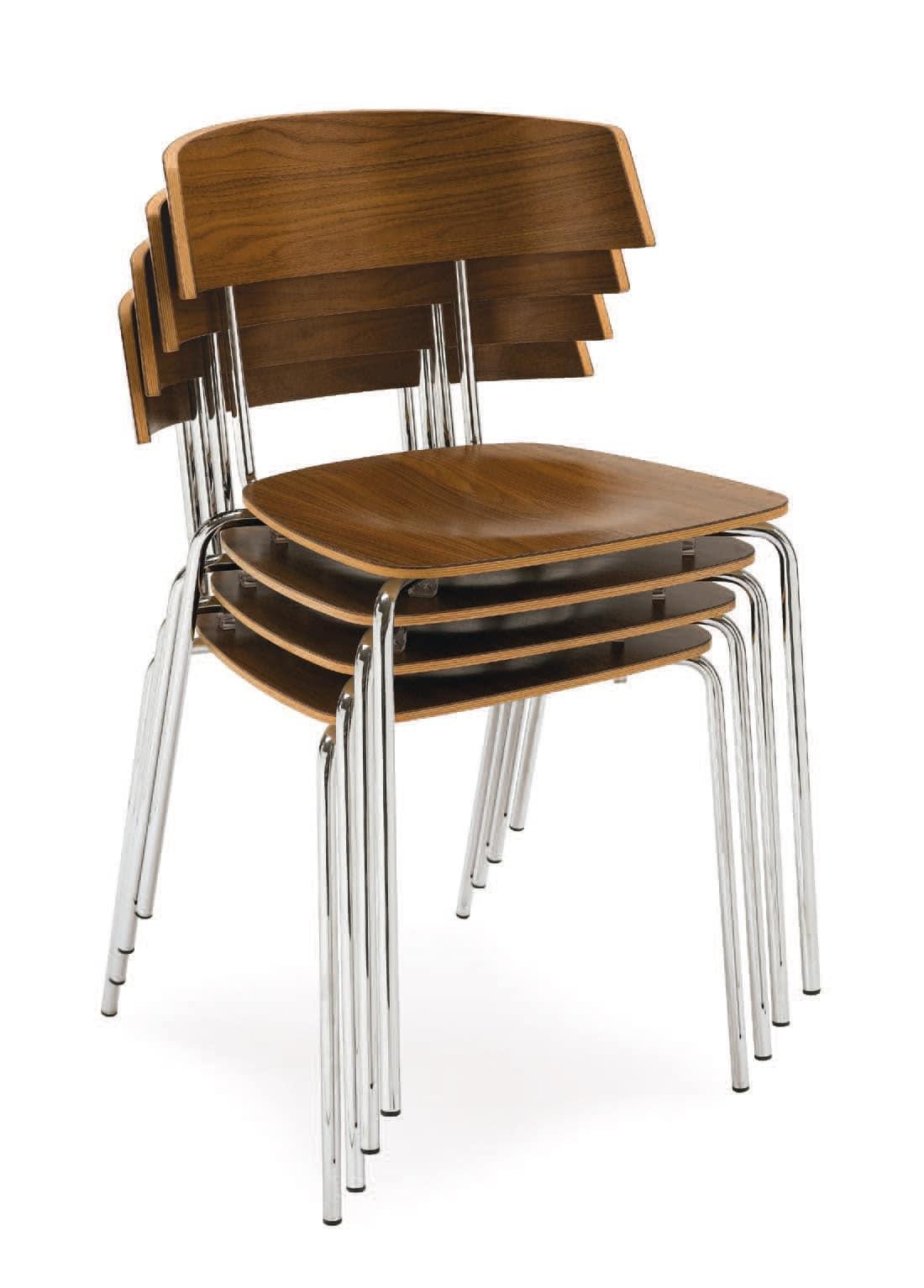 SE 1324, Sedia con gambe in metallo, seduta e schienale in laminato