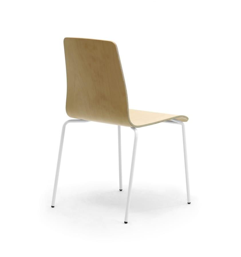 Zerosedici Wood 4G, Sedia a 4 gambe in metallo, robusta scocca in legno