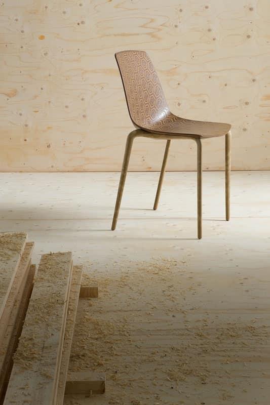 Alhambra Eco cod. 92/NAECO, Sedie con scocca in materiale plastico, telaio in composito legno