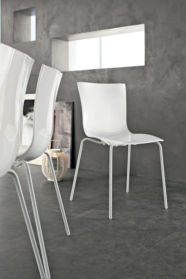 Sedia impilabile moderna metallo plastica per bar e for Sedia design srl