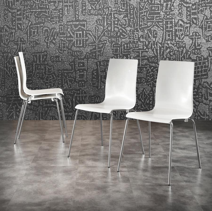 sedia in polipropilene bianco gambe in metallo cromato