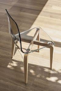 BERLINO SE506, Sedia con struttura in legno, seduta in policarbonato, in stile moderno