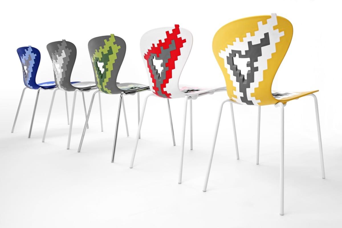 Sedie metallo con seduta plastica, per sala conferenze ...